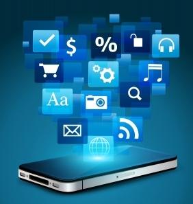 Mobile Phone With Cloud Of Application Icons - KROMKRATHOG (FreeDigitalPhotos.net)